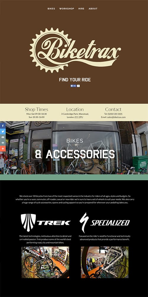 Biketrax Website Portfolio Preview