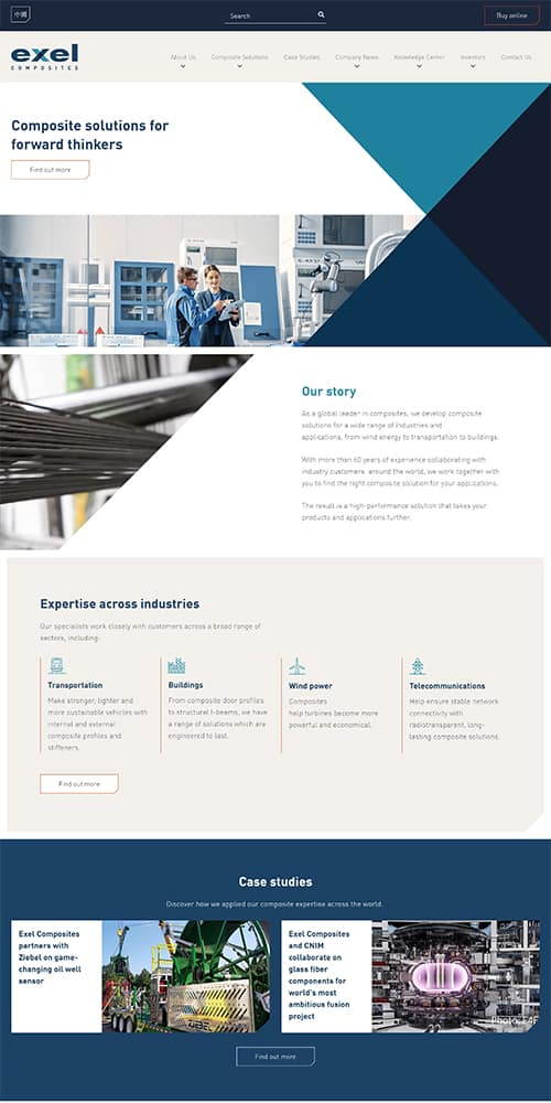 Exel Composites Website Preview