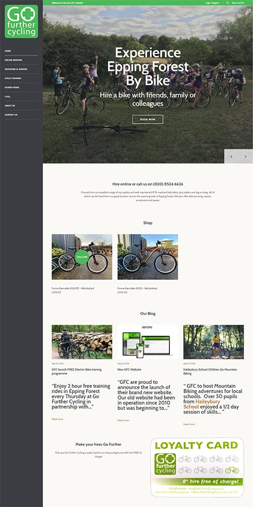 Go Further Cycling Website Preview